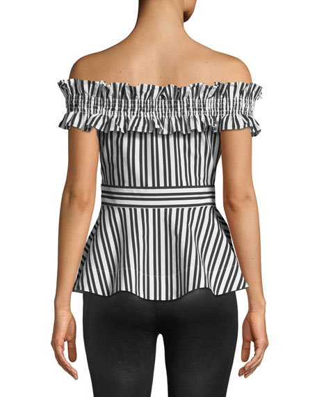 candy stripe off-the-shoulder top