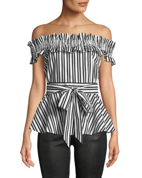 kate spade new york candy stripe off-the-shoulder top