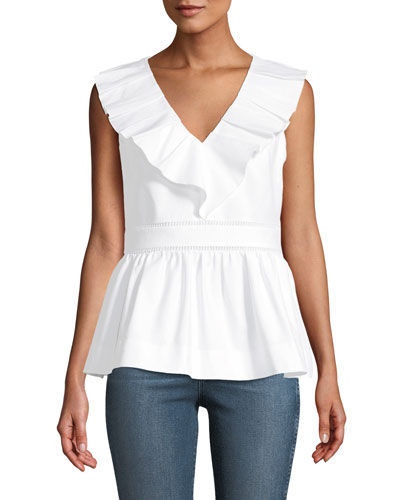 sleeveless v-neck ruffle top