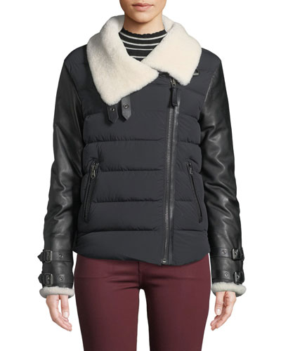 Jovie Quilted Puffer Moto Jacket w/ Sheepskin Fur