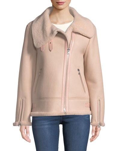 Zip-Up Sheepskin Fur Moto Jacket