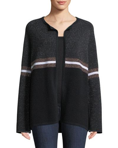 Cashmere & Metallic Ribbed Ottoman Knit Striped Cardigan