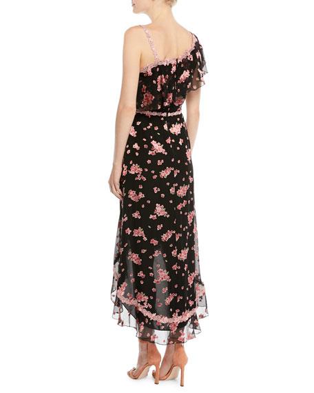 Caydon One-Shoulder Floral Burnout Flounce Midi Dress