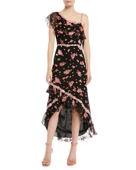 Alice + Olivia Caydon One-Shoulder Floral Burnout Flounce