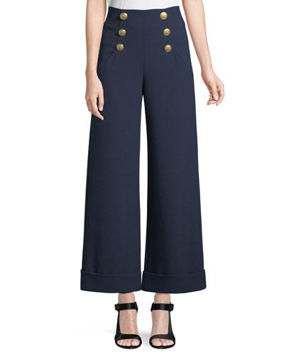 Ferris Cuffed Wide-Leg Sailor Pants