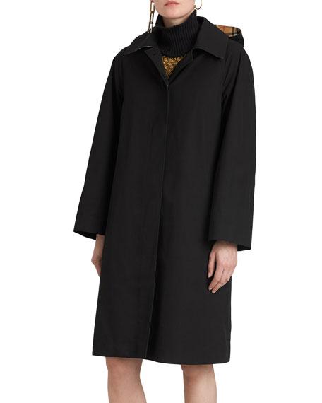 Burberry Hooded Swing Raincoat w/ Check Hood
