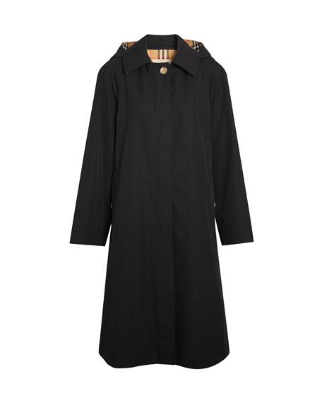 Hooded Swing Raincoat w/ Check Hood