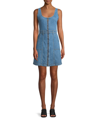 Zip-Front Denim Mini Dress