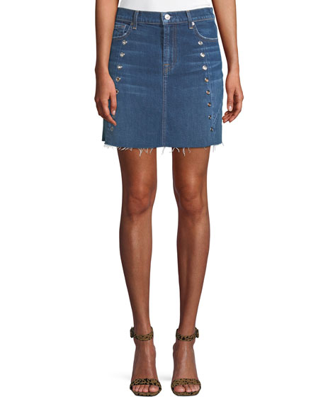 Frayed Denim Mini Skirt with Eyelets