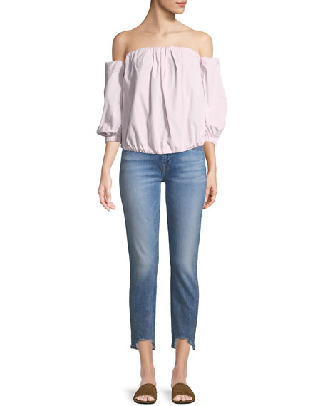 Roxanne Frayed Ankle Skinny Jeans with Long Side Hem
