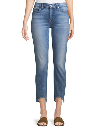 Roxanne Frayed Ankle Skinny Jeans with Long Side Hem