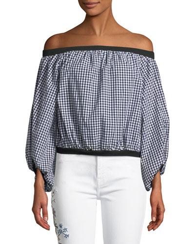 Off-the-Shoulder Gingham Blouson-Sleeve Top