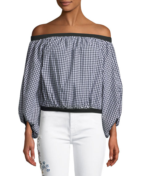 Off-the-Shoulder Gingham Blouson-Sleeve Top