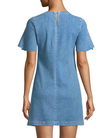 Short-Sleeve Denim Mini Dress