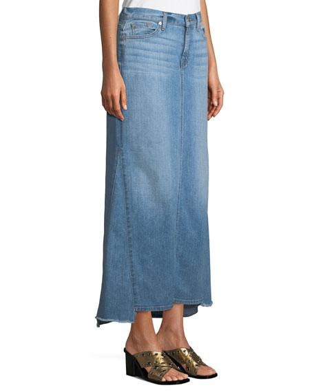 Step-Hem Denim Maxi Skirt