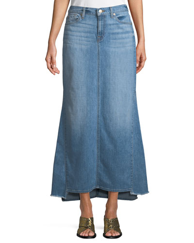 Step-Hem Denim Maxi Skirt