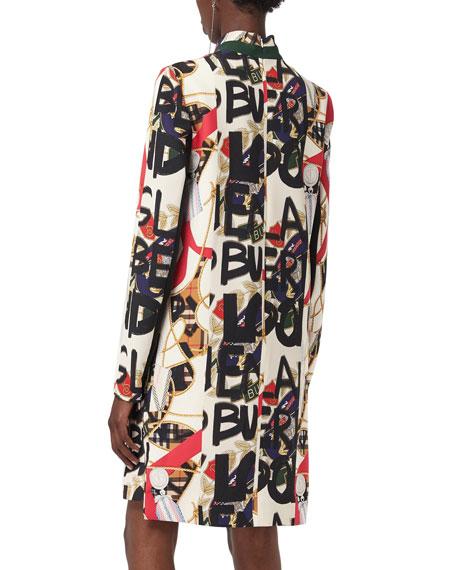 Zoya High-Neck Graffiti-Print Dress