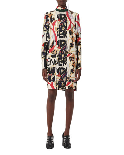Zoya High-Neck Graffiti-Print Dress