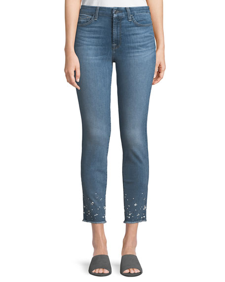 JEN7 BY 7 FOR ALL MANKIND ANKLE SKINNY JEANS W/ CRYSTAL HEM