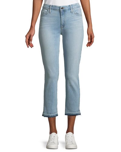 Straight-Leg Cropped Released-Hem Jeans