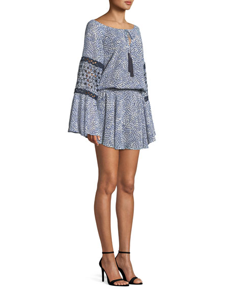 Lanelle Printed Long-Sleeve Mini Dress