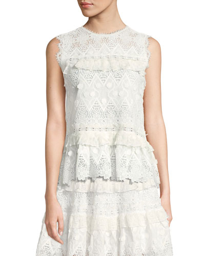 Effie Tie-Back Sleeveless Lace Top