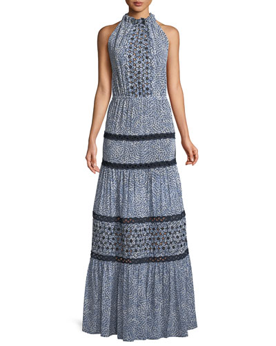 Bel Printed Crochet Maxi Dress