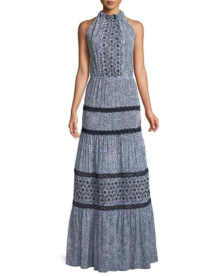 Bel Printed Crochet Maxi Dress