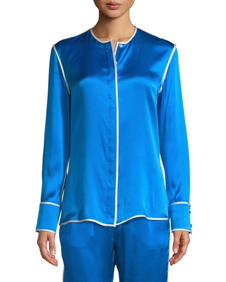 ALEXIS Ima Silk Button-Up Long-Sleeve Top in Arctic Ice