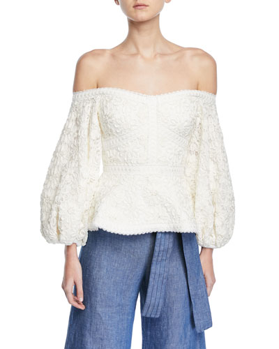 Joscelin Embroidered Puff-Sleeve Top