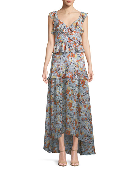 Jewell Floral Ruffle Maxi Dress