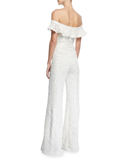Edlyn Off-the-Shoulder Lace Jumpsuit
