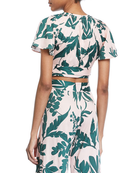 Lali Tropical-Print Crop Top