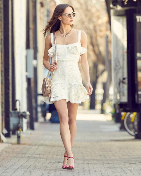Linzi Lace Ruffle Mini Dress
