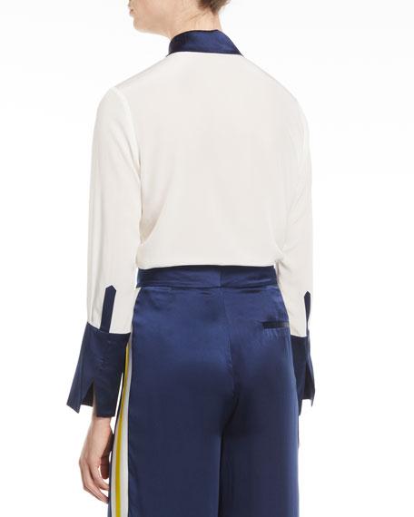 Julya Silk Button-Front Top