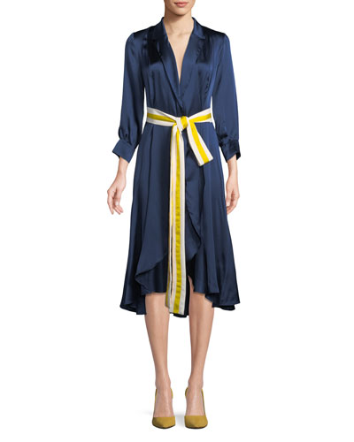 Turner Belted Silk Midi Dress