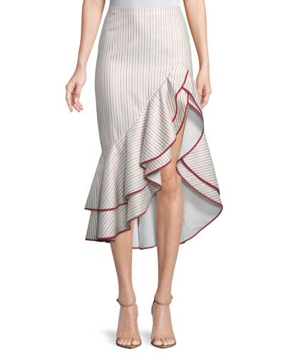 Garnet Striped Ruffle High-Low Skirt