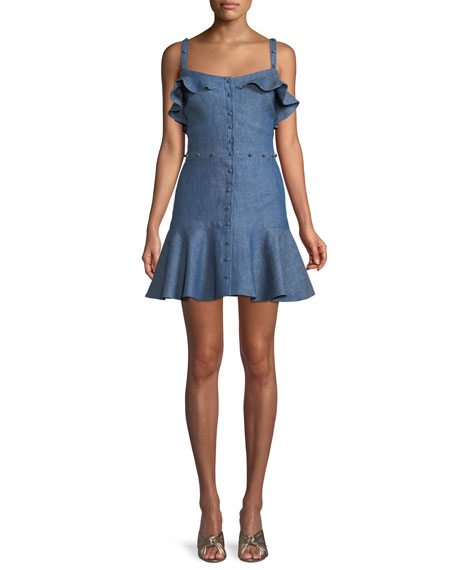 Jodie Button-Front Ruffle Cotton Chambray Dress