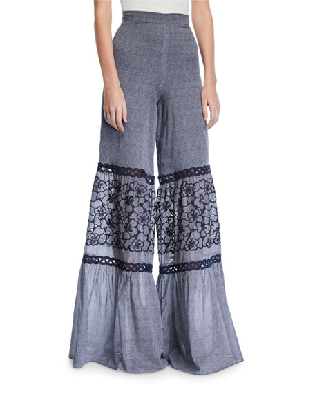 Lizbeth Wide-Leg Embroidered Crochet Pants