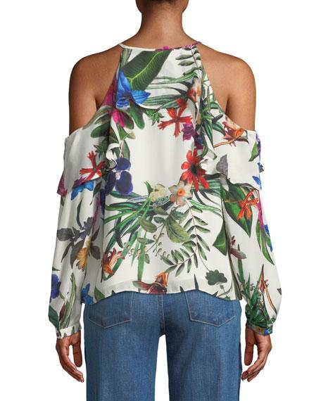 Suzette Floral Silk Cold-Shoulder Blouse