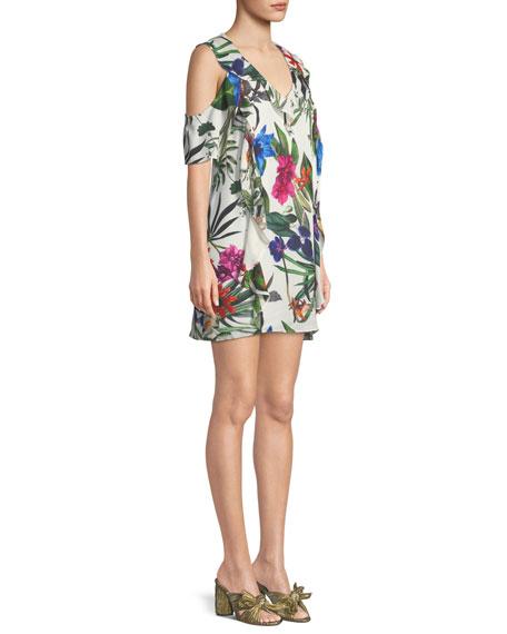 Glory Floral Cold-Shoulder Ruffle Mini Dress
