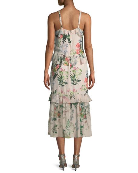 Josie Floral-Print Silk Midi Dress