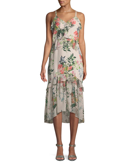 Parker Josie Floral-Print Silk Midi Dress