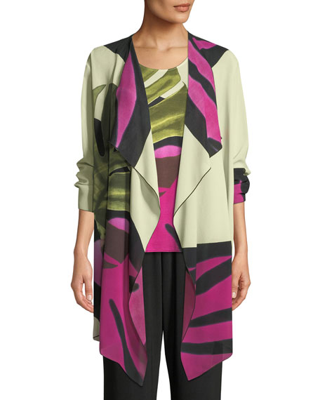 Palm Leaf Georgette Long Jacket, Plus Size