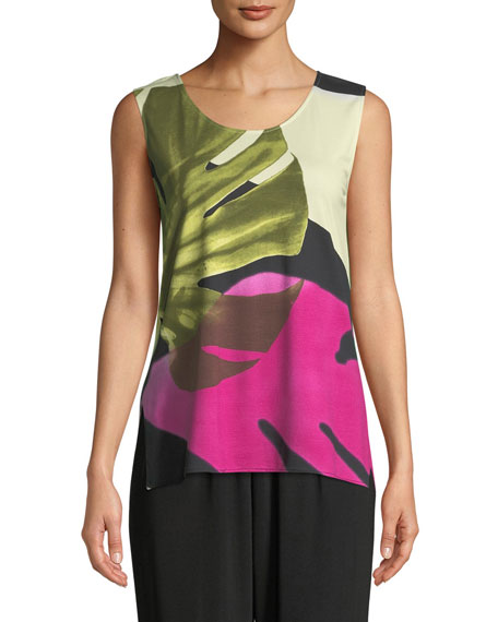 Palm Leaf Sleeveless Tank, Plus Size