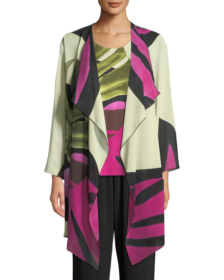 Caroline Rose Palm Leaf Georgette Long Jacket, Petite