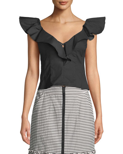 Hot Spot Top w/ Ruffle Sleeves