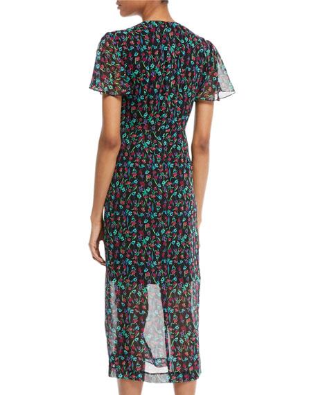 Getaway Floral Silk V-Neck Dress