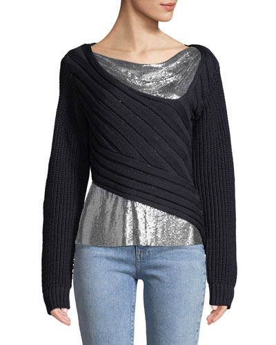 Chunky Chainmail-Paneled Sweater