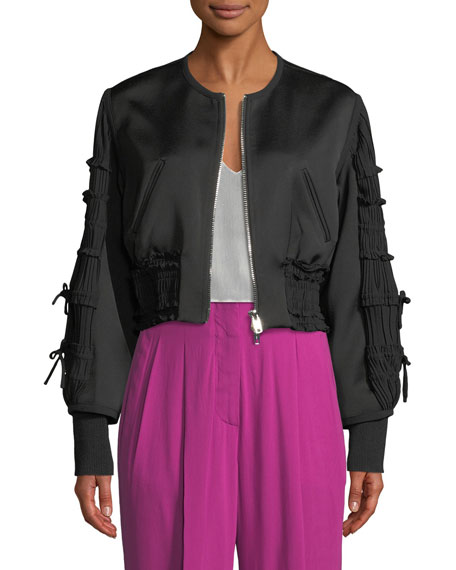 3.1 Phillip Lim Gathered-Sleeve Zip-Front Smocked Bomber Jacket